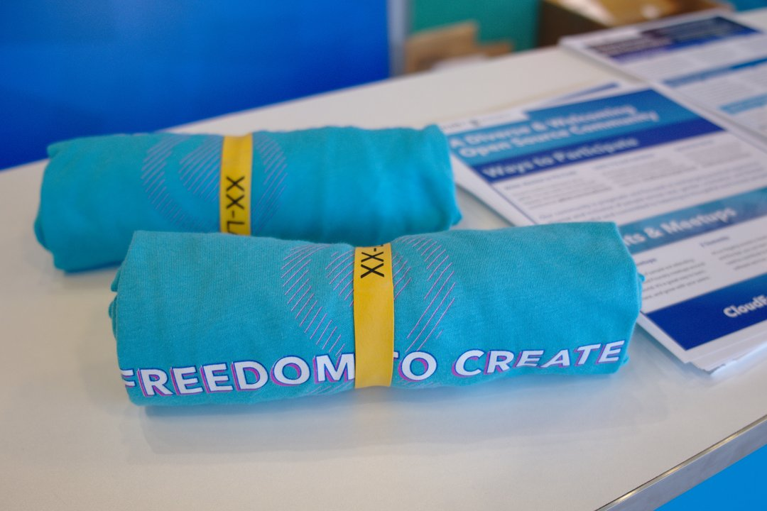 A t-shirt from the Cloudfoundry booth that reads 'Freedom to create'